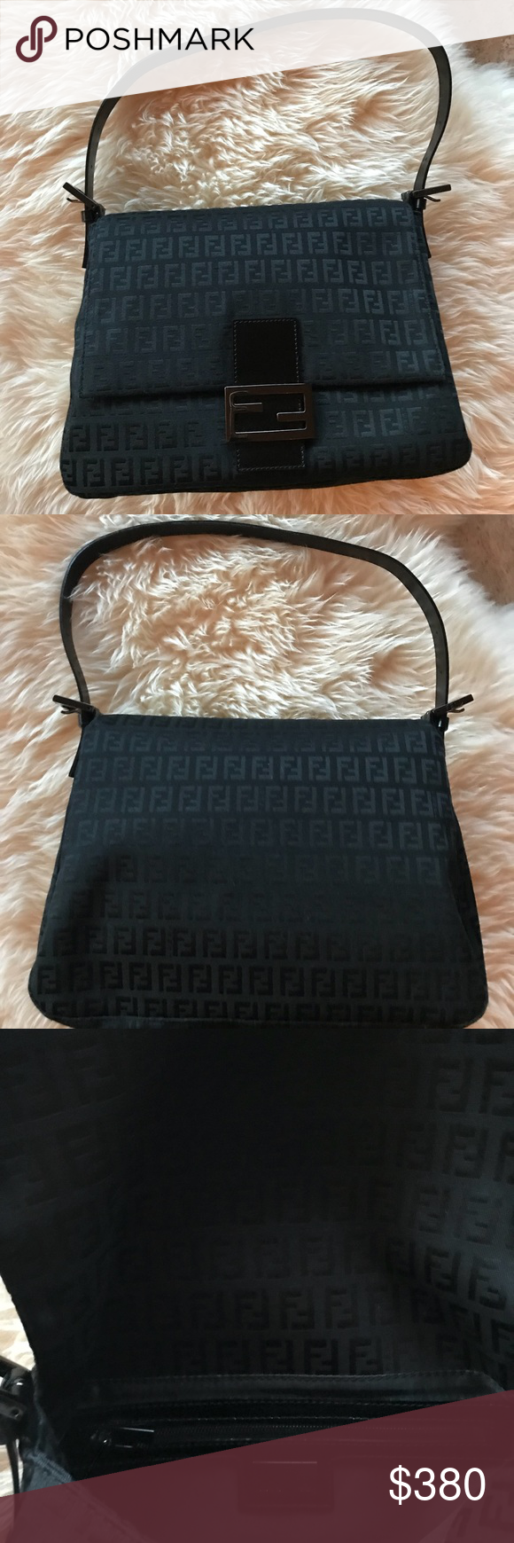 678e7edbdbd2 Fendi Black Zucca Print Mama Forever Bag • 100% authentic • condition  like  new (carried once!) • includes dust bag  feel free to ask questions! Fendi  Bags