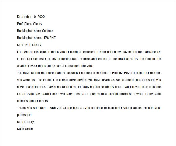 Sample Thank You Letter Mentor Download Free Documents Pdf Letters