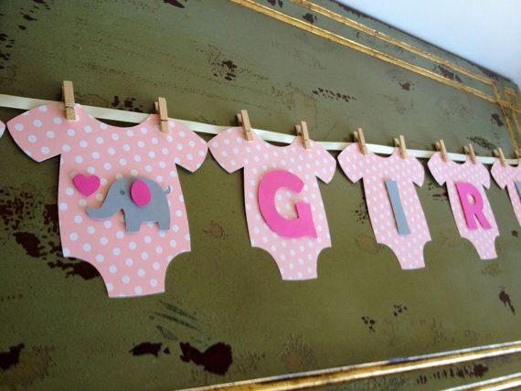 Onesie BABY GIRL Elephant Baby Shower Banner Pink by BubblyNewYork