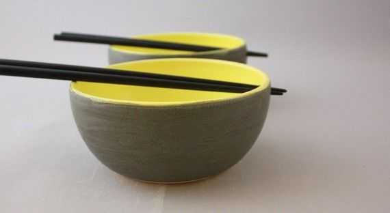 Pair of Chopstick Bowls in Graphite Gray and Lemon Yellow by Nstarstudio