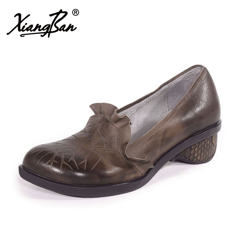 afa75aee5fa3 Xiangban 2018 casual handmade genuine leather women shoes rough heel  comfortable mid heels pumps countryside style. Yesterday s price  US   139.00 (114.93 ...