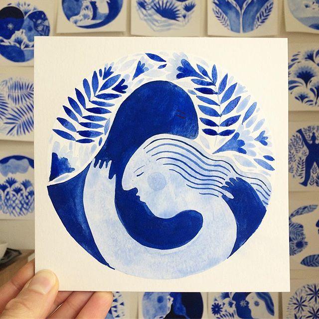 I love drawing hugs 💙😌 . . . #blue #ultramarineblue #love #connection #hug #kiss #illustration #painting #watercolor #anastasiatumanova