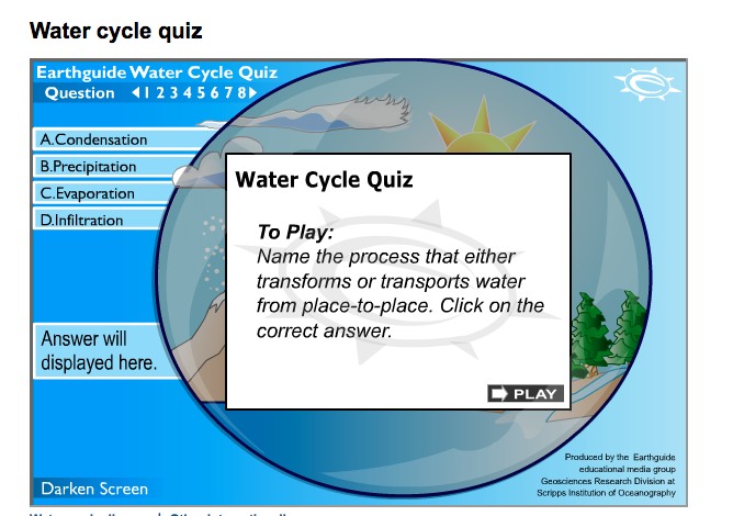 interactive quiz on the water cycle water cycle - earthguide animated quiz  water cycle diagram,