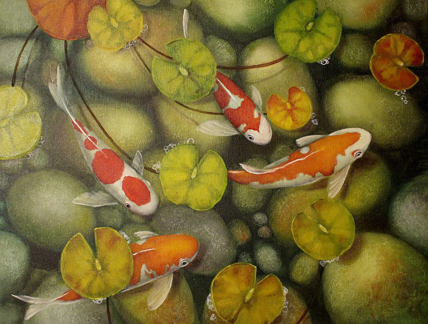 Koi Fish Painting Koi Fish Art Canvas Koi Home Decor Original Art Decor  Fine Art Painting