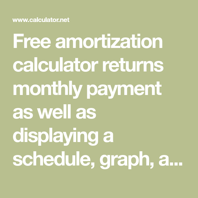 free amortization calculator returns monthly payment as well as