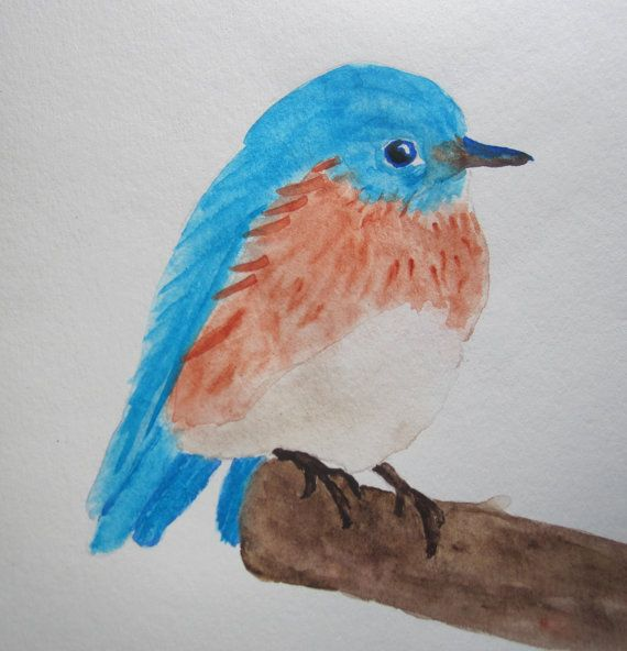 Original watercolor painting of a bluebird