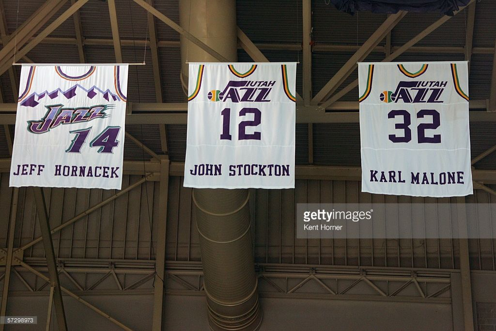low priced d7e3a a88c5 General view of Utah Jazz retired jersey numbers of Jeff ...