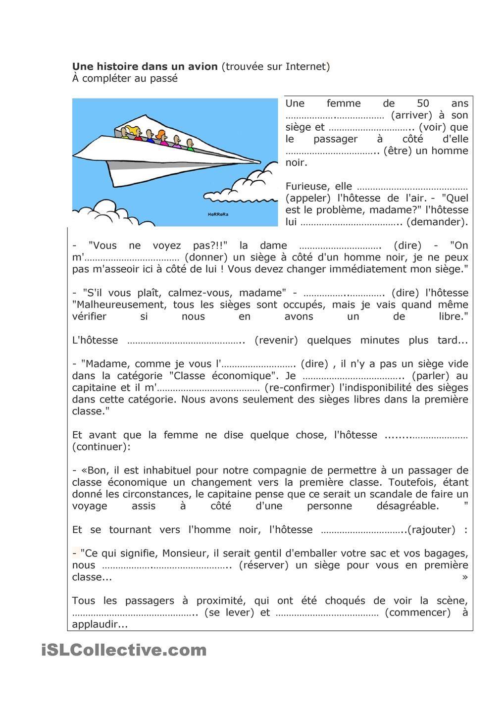 Une Histoire Dans Un Avion Passe Compose L Education Francaise Phrases En Francais
