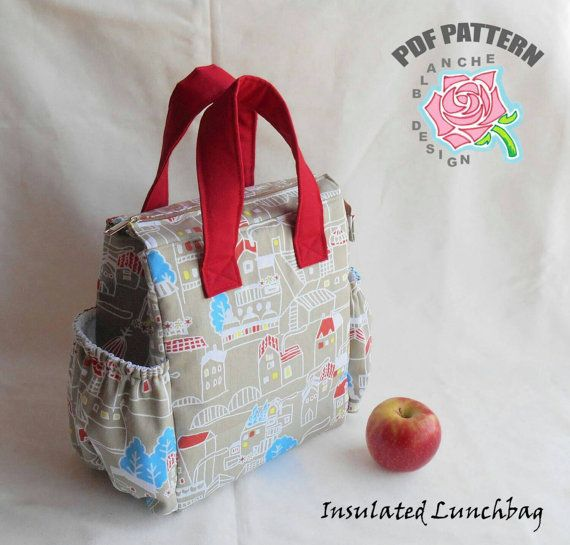 Insulated Lunchbag PDF Sewing Tutorial, Lunch Bag Pattern, Tote Bag ...