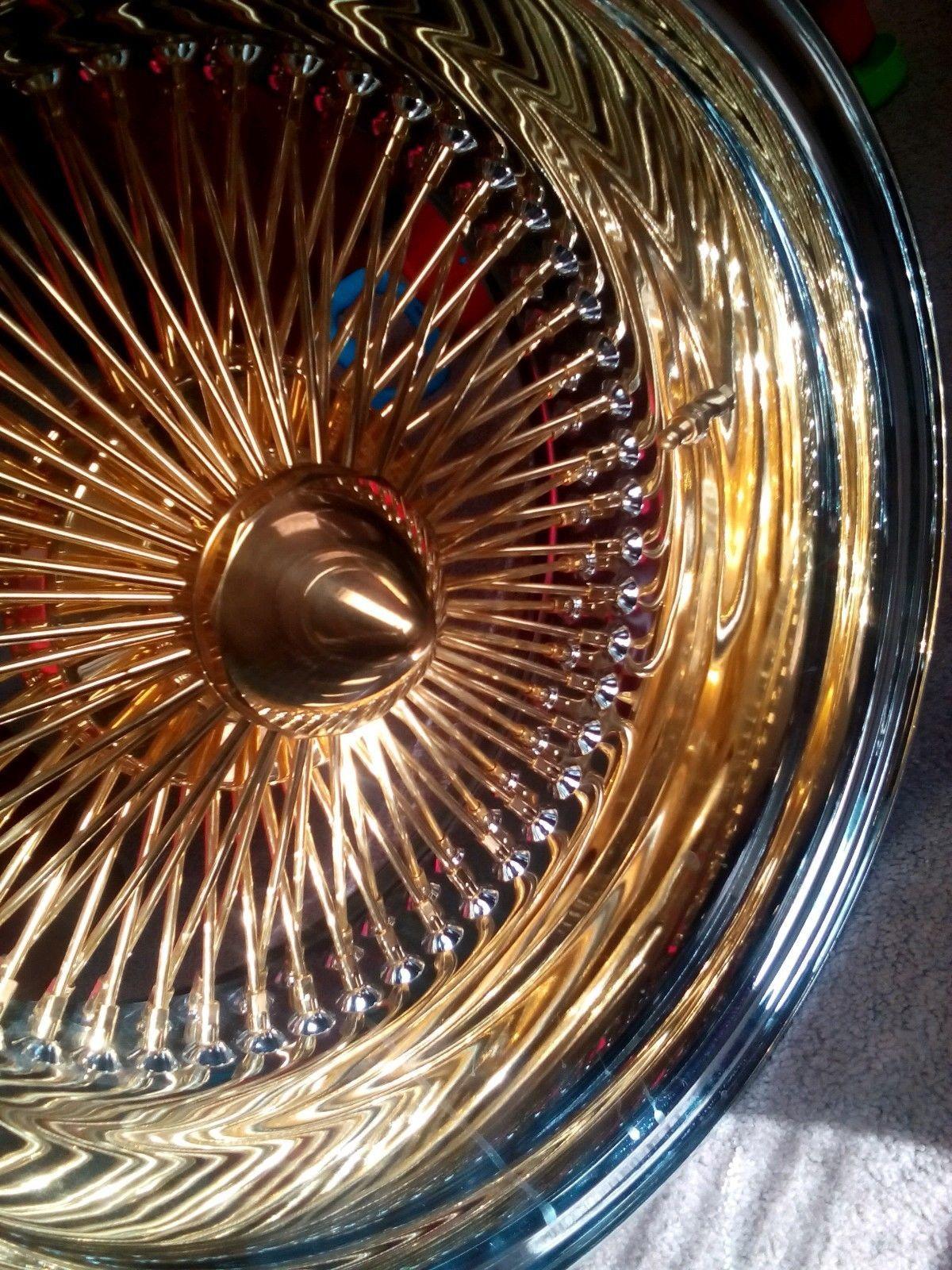 Lowrider rims 4 sale - Dayton Wire Wheels Gold Center Nos