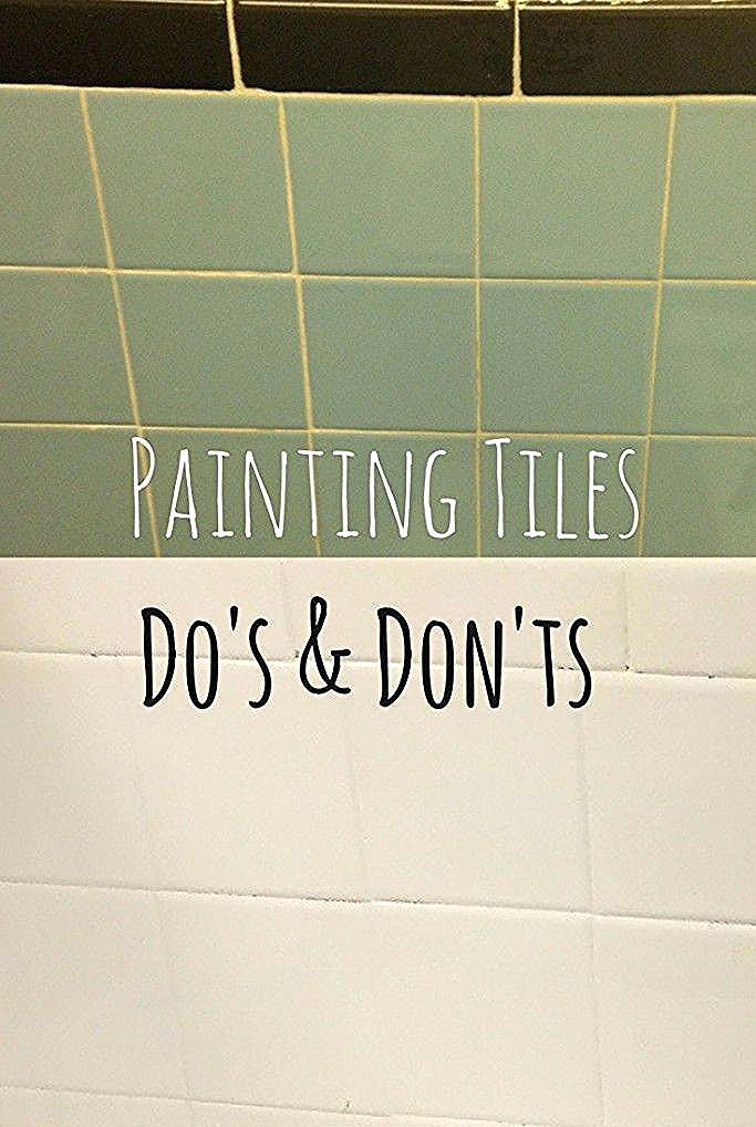 Painting tiles can be a cheap way to makeover a bathroom or kitchen. Make sure y... - Interior Ideas - #Bathroom #Cheap #Ideas #interior #Kitchen #makeover #Painting #tiles