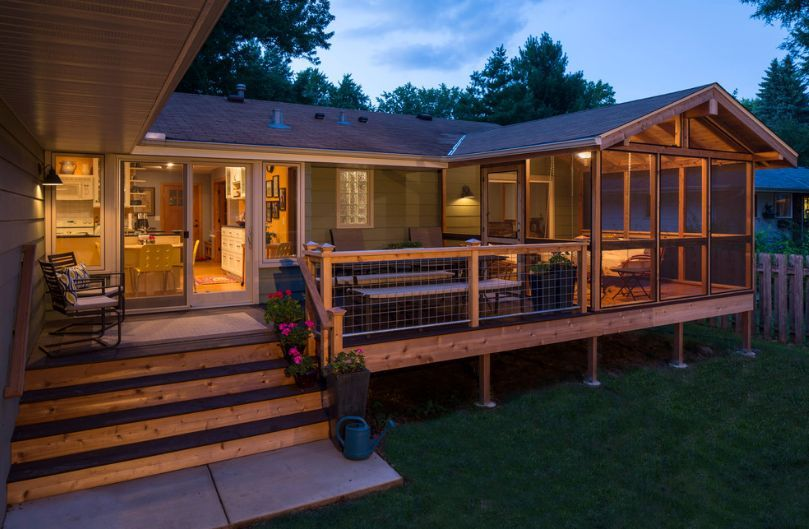 Traditional decks with mesh wire railing
