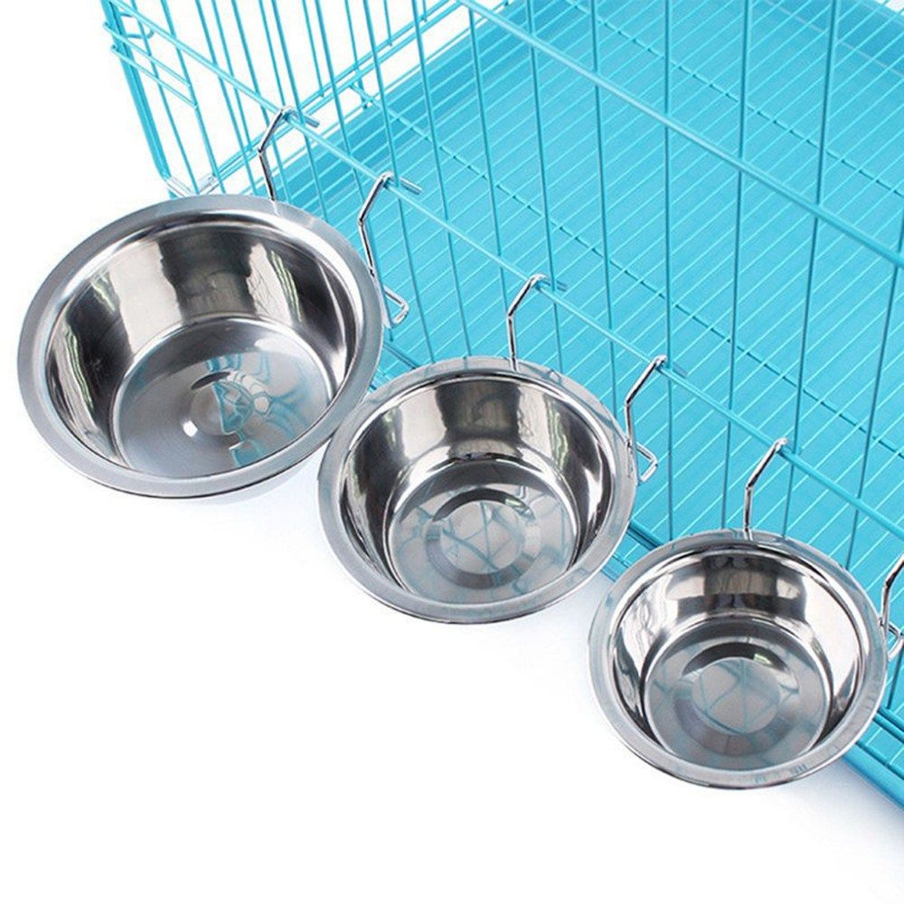 Stainless Metal Pet Canine Bowl Meals Water Ingesting Cage Cup