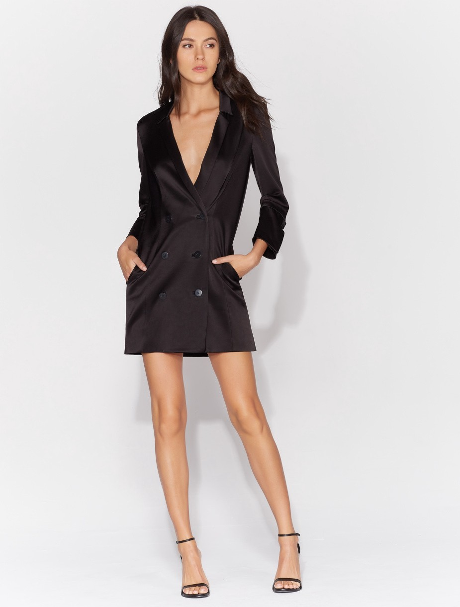 a45bd82a9f03 Halston Heritage Double Breasted Satin Tuxedo Dress - Black M ...