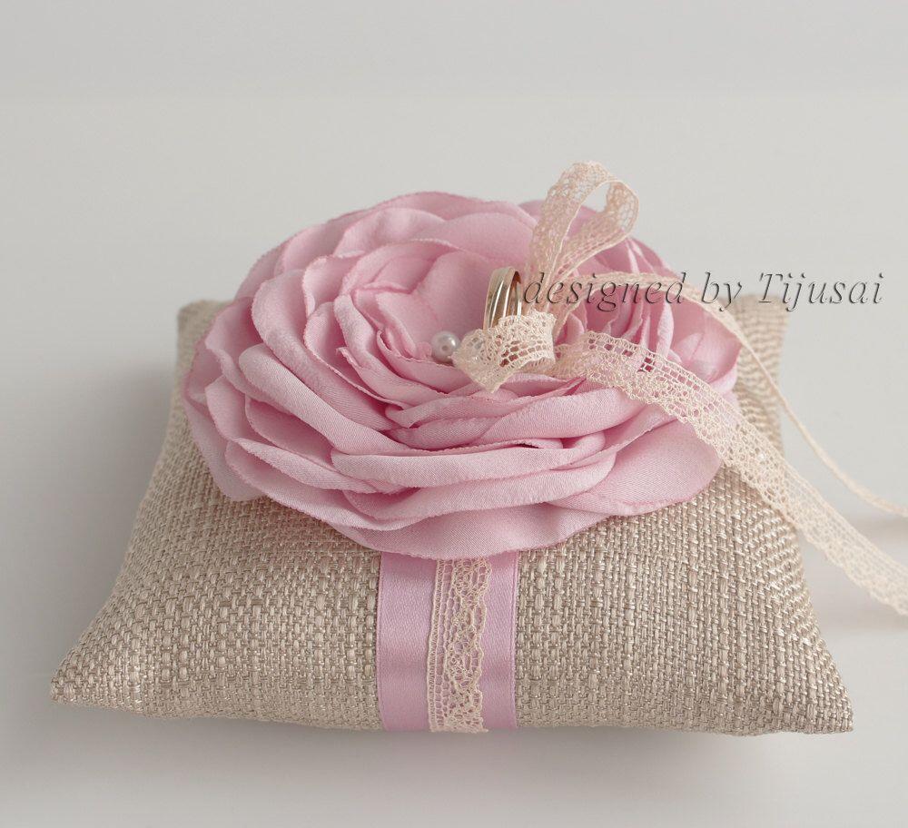 Burlap ring pillow with pink Rose ---wedding rings pillow , wedding ...