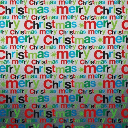 silver merry christmas wrapping paper walmartcom - Walmart Christmas Wrapping Paper