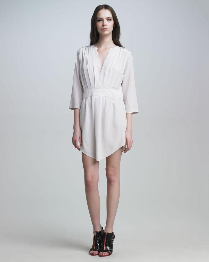 Chloé V-Neck Empire-Waist Dress, Porcelain (With Images