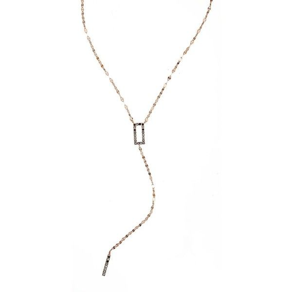 LANA JEWELRY Reckless Kite Bar Black Diamond 14K Rose Gold Lariat