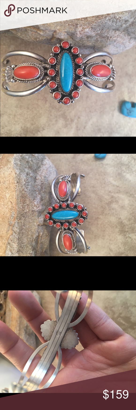 Vintage Navajo Turquoise & Coral Cuff Bracelet This is a vintage Navajo Turquoise, Coral and Sterling Silver Cuff bracelet. This piece is signed by the artist and stamped Sterling. The width of this bracelet is 1 1/8  inches with an inner circumference of 5 1/2 inches and a gap of 1 3/8 inches. This bracelet is in excellent vintage condition.   Thank you for looking, please contact me with any questions. Jewelry Bracelets