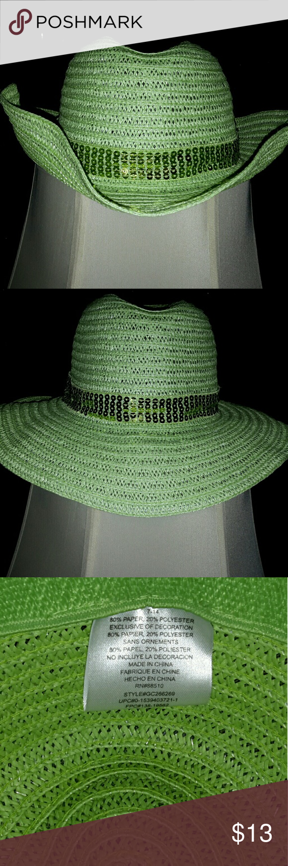 7d18a849780a0 Lime green Straw-Like Hat Great summer hat with sequin band for the beach  or shopping. Wear with the brim up or the brim down. Wear with sequined  sash or ...