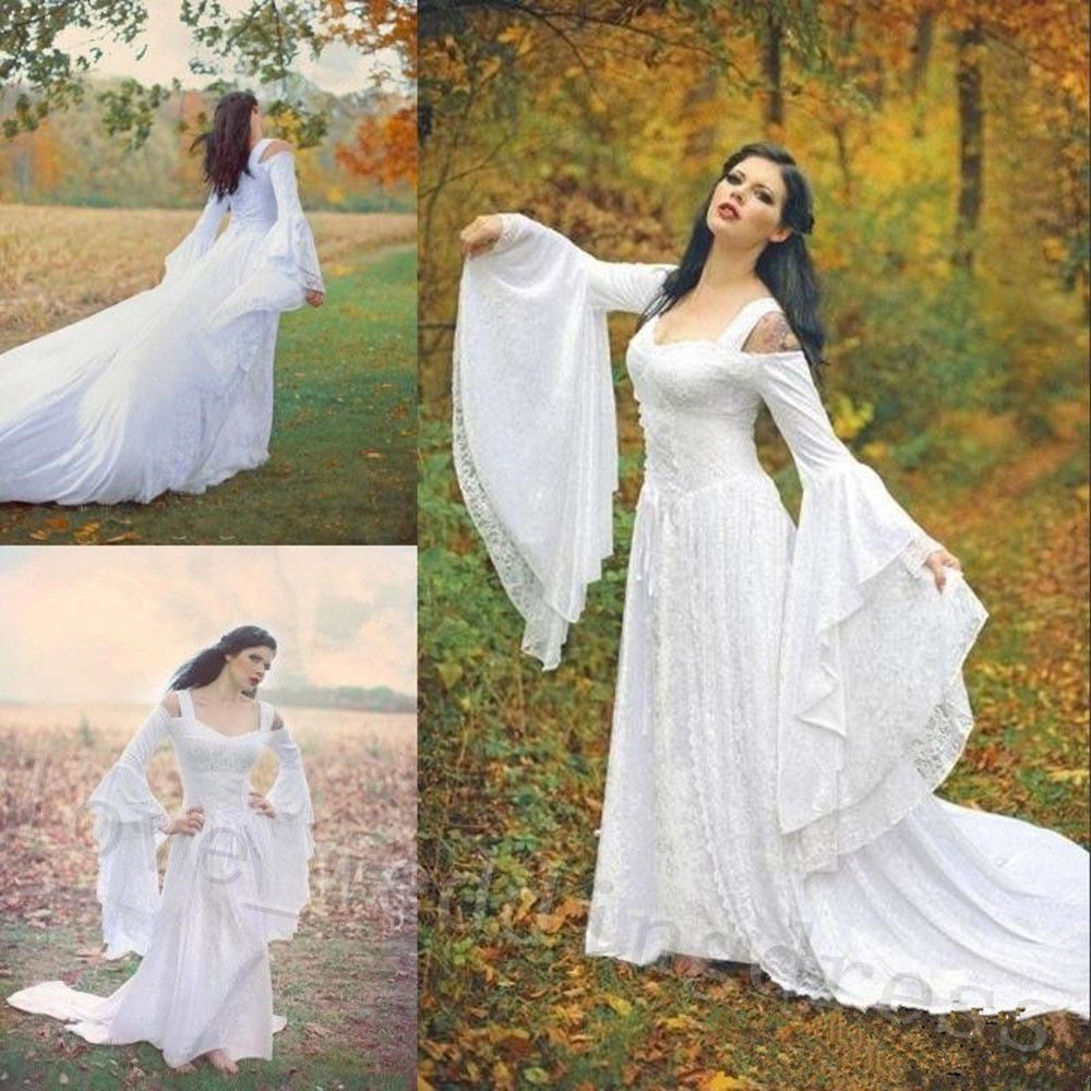 Medieval Celtic Beach Wedding Dresses Bell Sleeves Gothic Lace