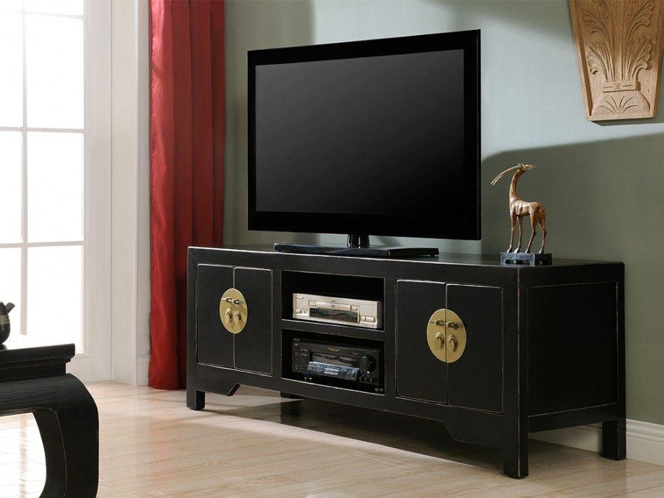 Meuble TV FOSHAN - 4 portes, 2 niches - Bois d\u0027orme - Noir France