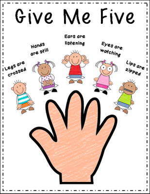 """I like this poster better then the one I currently have! Peace, Love and Learning: """"Give Me Five"""" Freebie"""