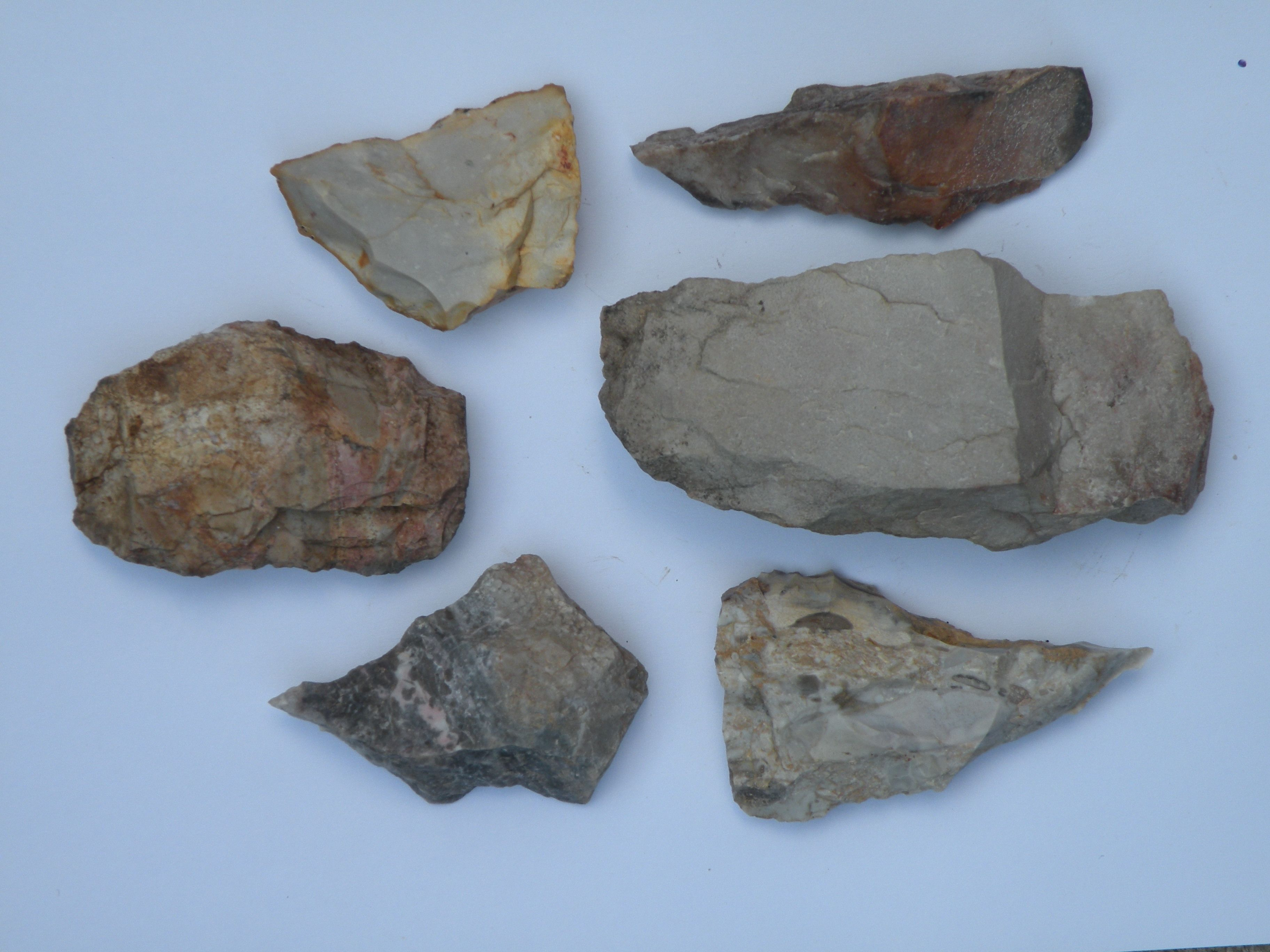 A grouping of large indian artifacts found at rock