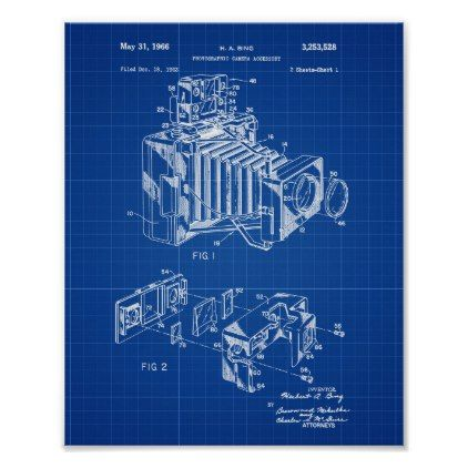 Vintage camera patent poster blueprint background photography vintage camera patent poster blueprint background photography gifts diy custom unique special photography pinterest vintage cameras and malvernweather Gallery