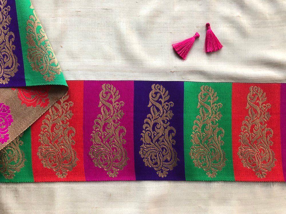 3 Yards latest Indian Multicolour Mirror Cutwork circle design Lace Trim Boarder