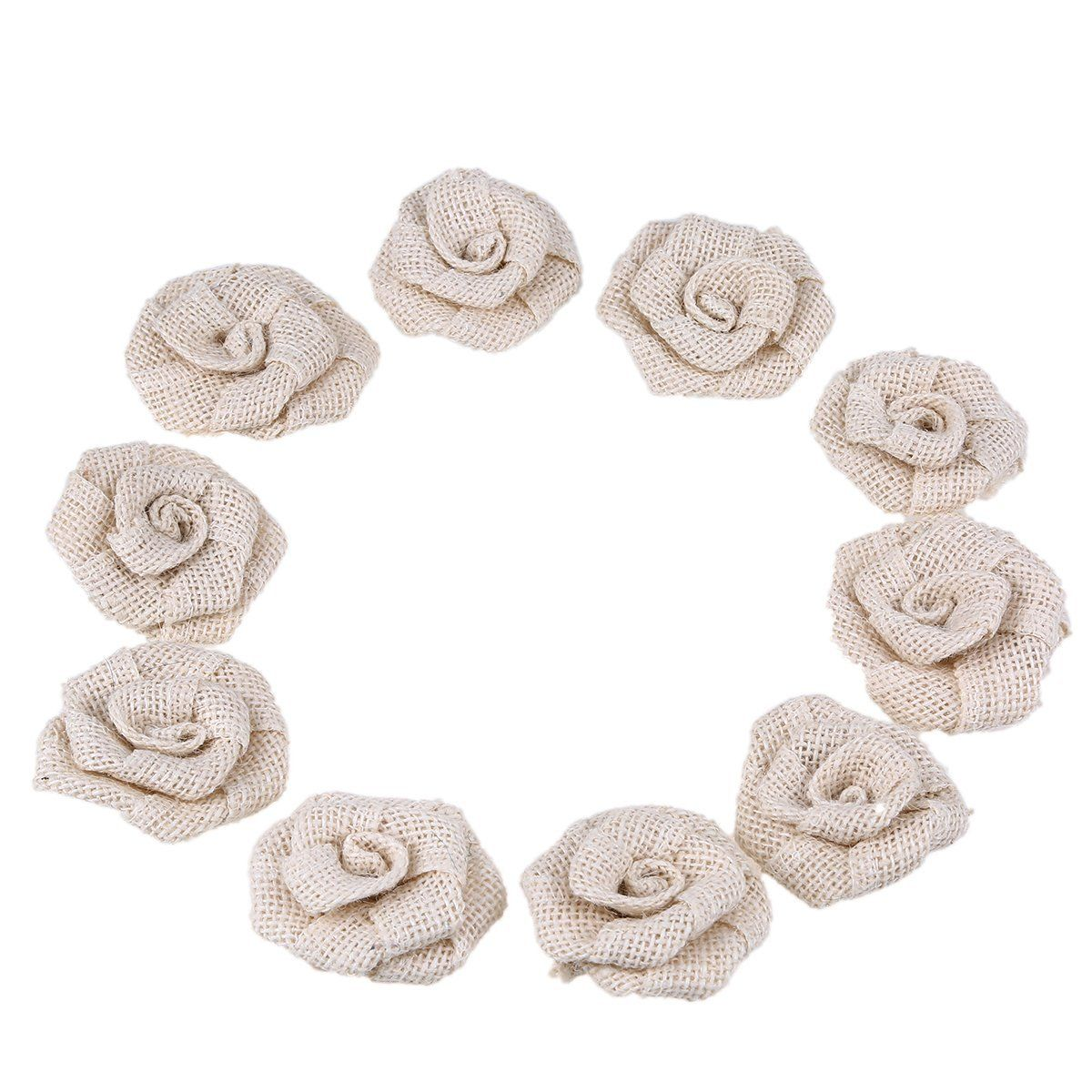 Whosee White Cotton and Linen Rose Handmade Flower DIY Brooch Shoes Gift Hat Party Decoration 10 Pack *** Click image to review more details.