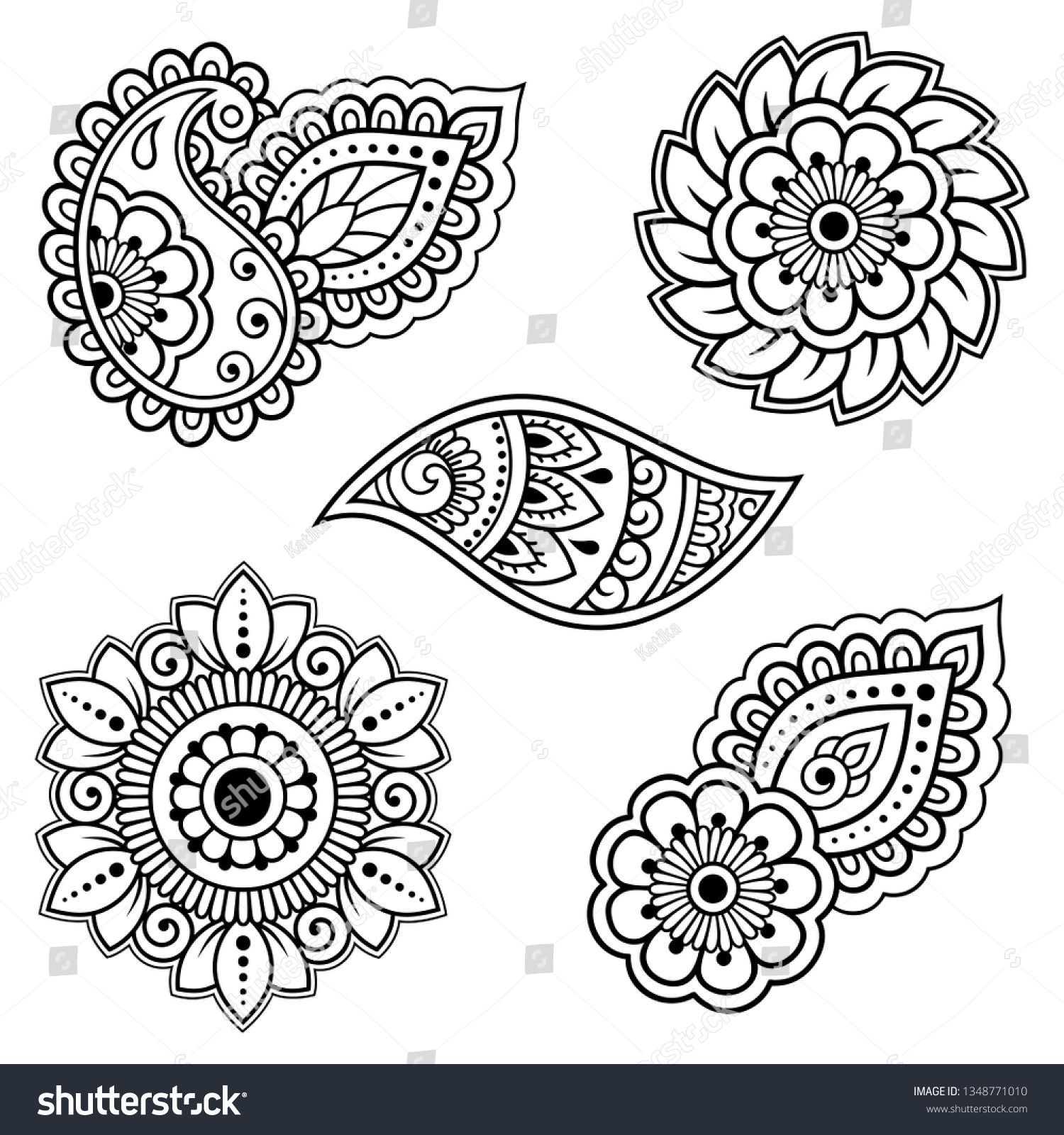 Set Mehndi Flower Pattern Henna Drawing stockvector (rechtenvrij) 1348771010