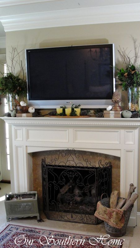 How to create a fall vignette mantle decorating and tvs for Over fireplace decor