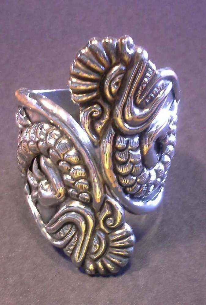 Mexican sterling silver clamper cuff bracelet