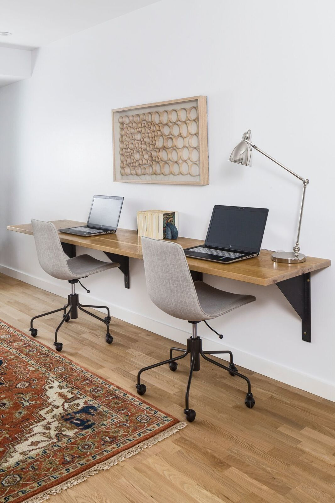 The Family Study Features A 9 Foot Floating White Oak Desk With Custom L Beam Brackets By A R Lucas Constructio Contemporary Home Offices White Oak Desk Home