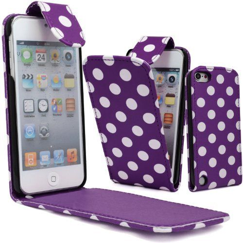 GLITZY GIZMOS WHITE POLKA DOTS ON PURPLE PU LEATHER FLIP CASE COVER POUCH FOR APPLE iPOD TOUCH 5 5G 5th GENERATION 5th GEN by GLITZY GIZMOS, http://www.amazon.co.uk/dp/B00AN76KR2/ref=cm_sw_r_pi_dp_Ps8Lsb0E7HDVK