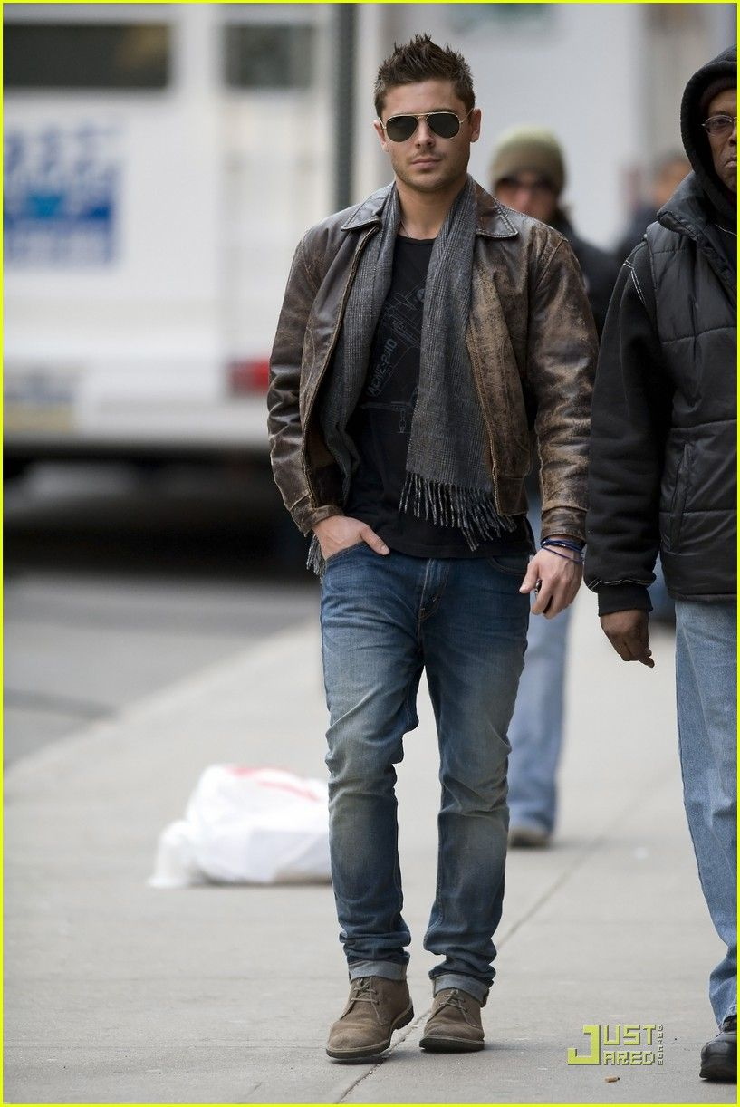 Zac Efron, leather jacket and scarf | Fashion : Ah-Men! in ...