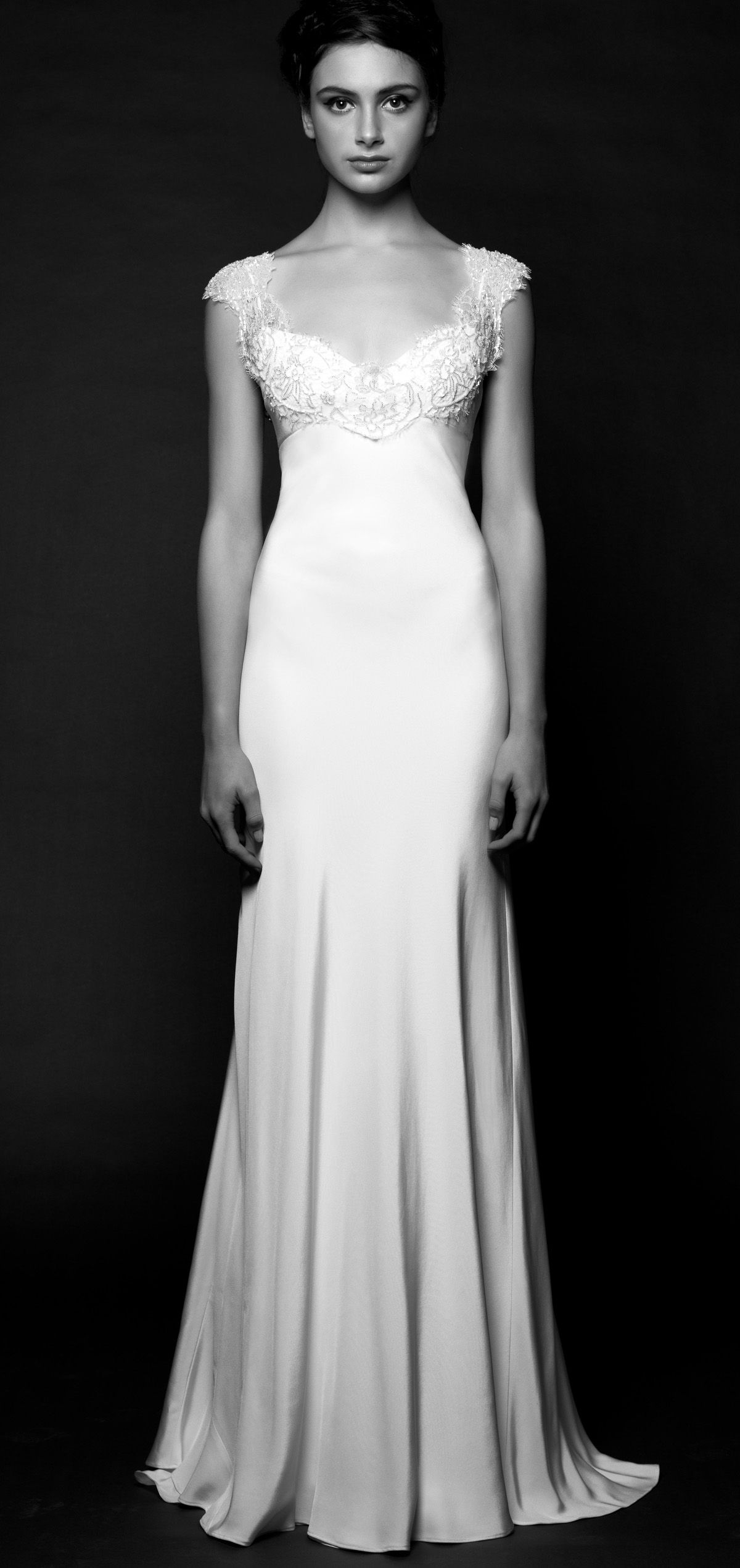 Elegant bias cut wedding dress