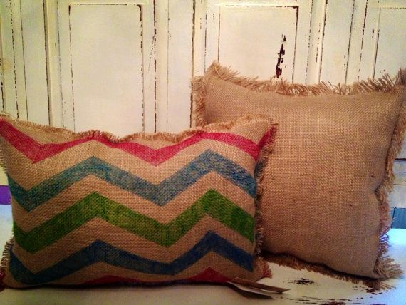 Chevron burlap accent pillow by FeathrYourNest on Etsy, $20.00