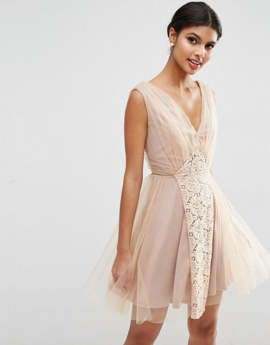 d28d2b9a9ec1 ASOS WEDDING – Mini-Ballkleid mit Netz und Spitze   Kleider ...