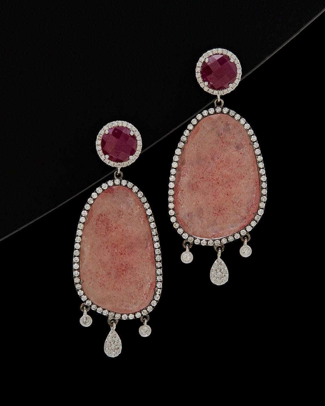 Ruby and Quartz earrings