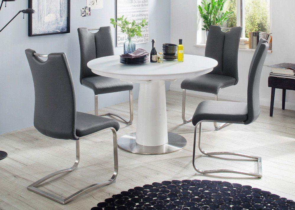Tischgruppe Varis Tisch Weiß rund ausziehbar mit 4 Stühlen Grau