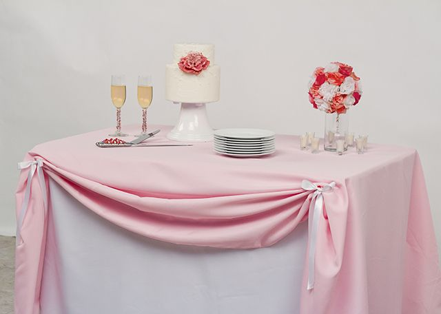 Fitted Tablecloth With Pink Rectangular Tablecloth As Overlay