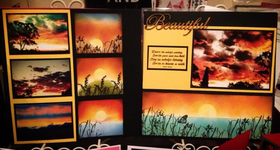 Beautiful layout inspired by Sonya Edwards using Tim Holtz Distress Inks, Kaszazz chipboards and heat embossing.