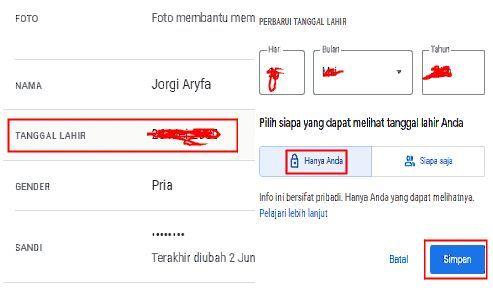 tanggal lahir di akun google