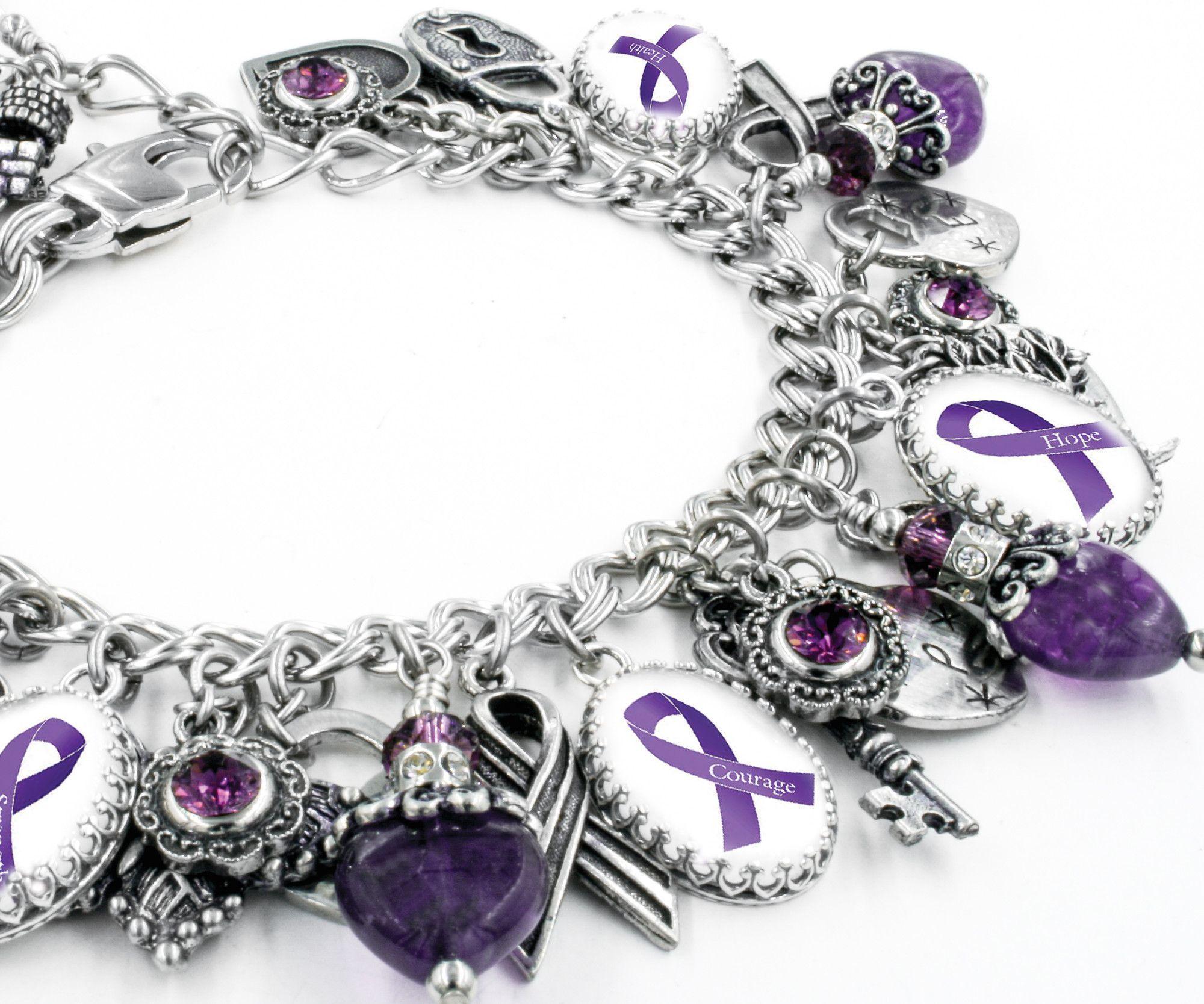 Lupus Bracelet, Fibromyalgia Jewelry, Epilepsy Bracelet, Alzheimers Bracelet, Purple Awareness Jewelry #chronicfatiguesyndrome