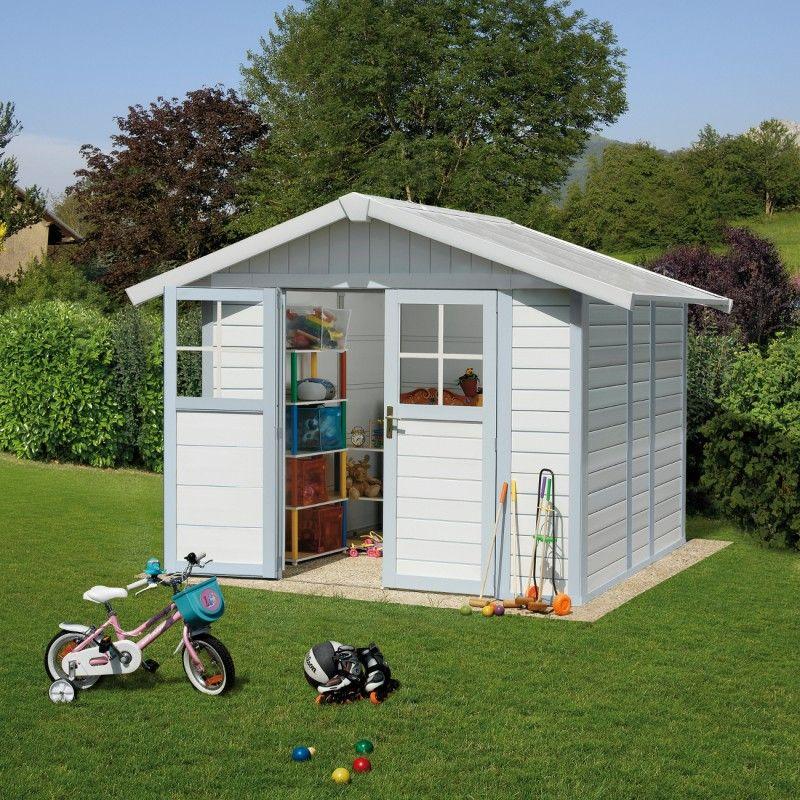 Abri de jardin en PVC 4,9m² blanc et gris bleu Grosfillex