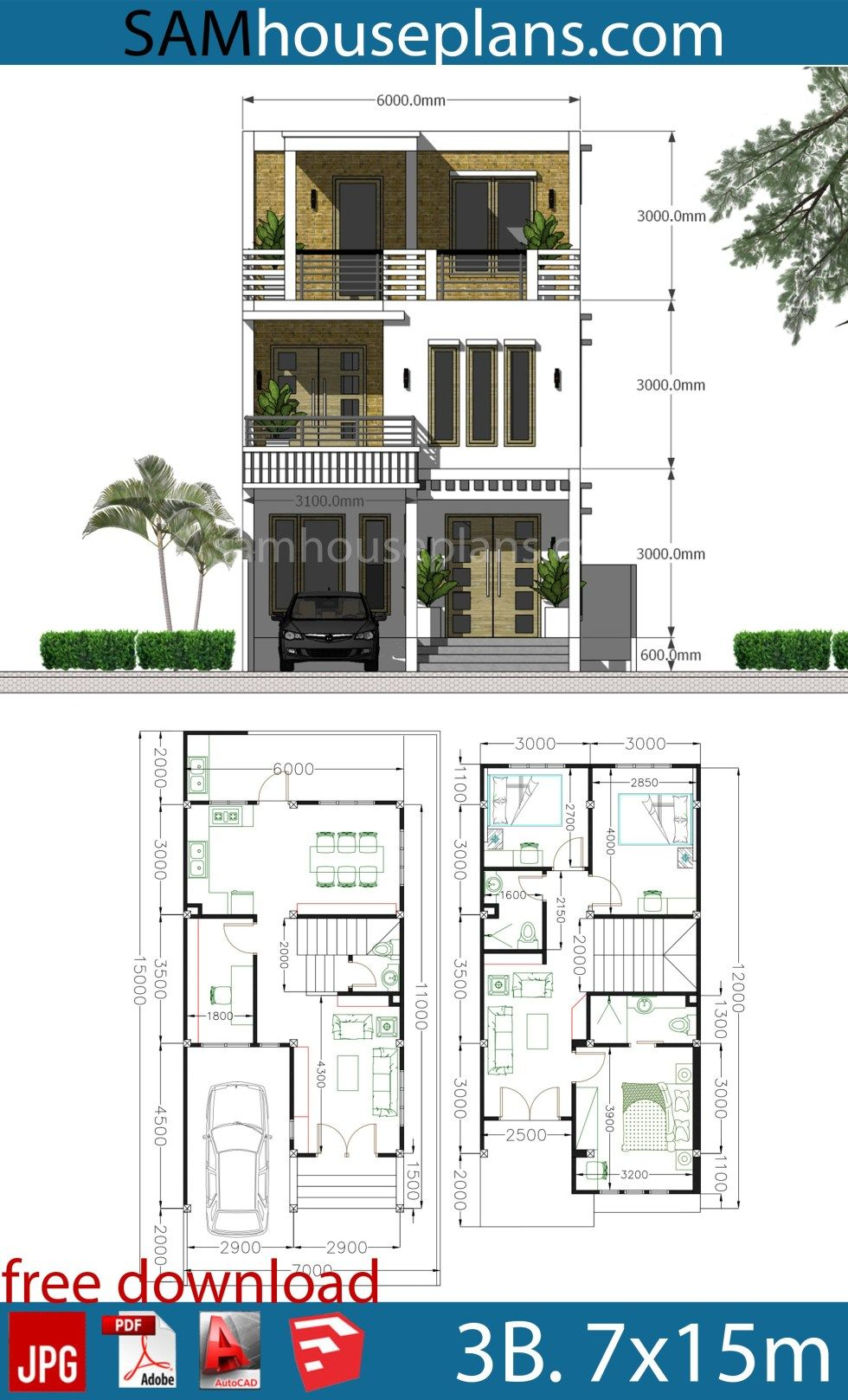 House Plans 7x15m With 3 Bedrooms Sam House Plans Narrow House Plans House Plans Mansion Model House Plan