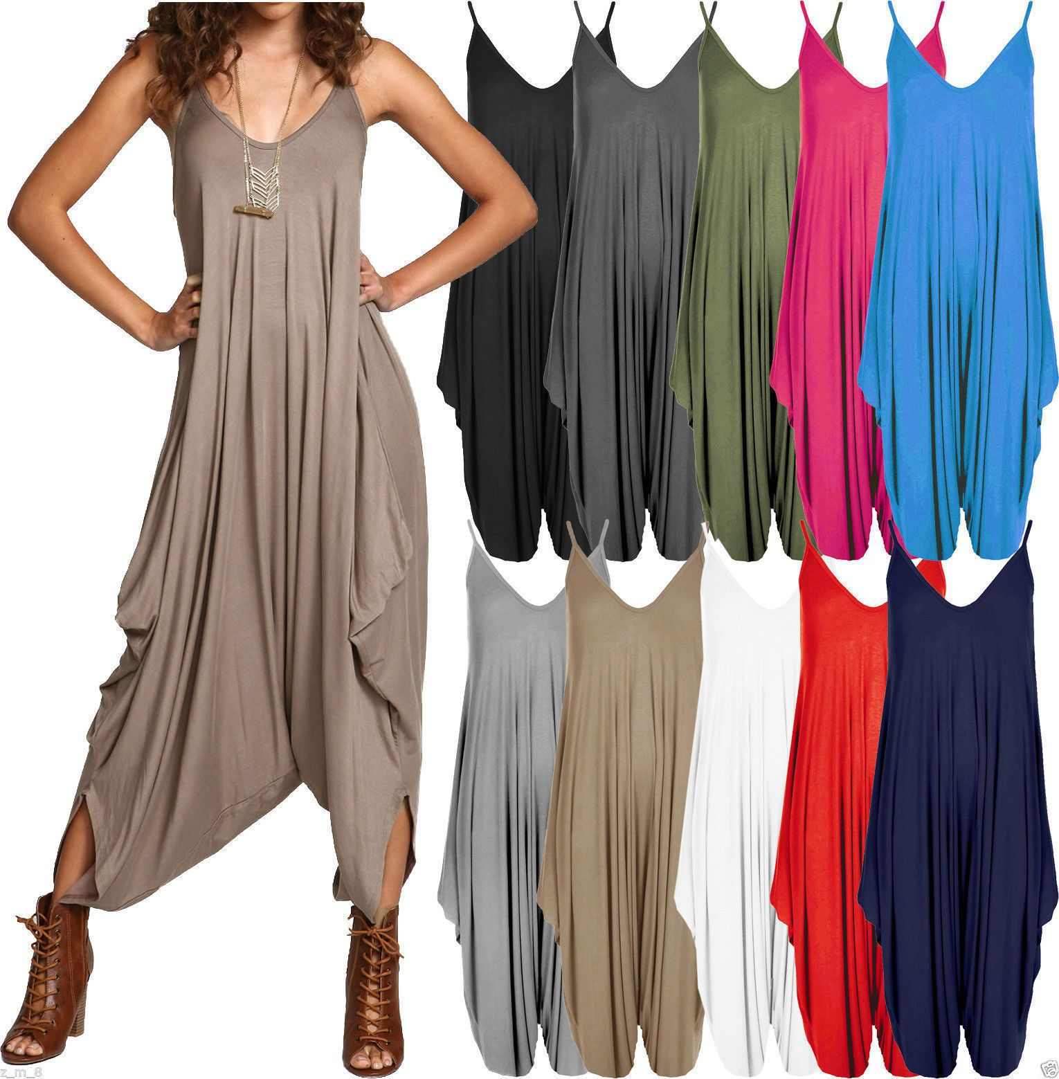 Women/'s Ladies Cami Strappy Lagenlook Baggy Harem Jumpsuit Playsuit Top Dress