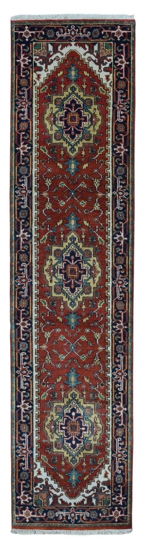 Navy, Red and Gold Serapi Oriental Runner Rug 2'4X10'